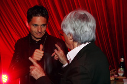 Bernie Ecclestone F1 Supremo and Giancarlo Fisichella Force India F1 at the Fly Kingfisher Boat Party