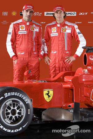 Marc Gene and Luca Badoer with the new Ferrari F60