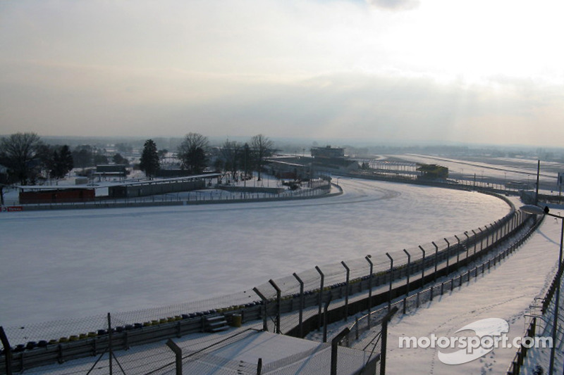 Le Mans Circuit covered with snow
