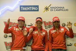 basın toplantısı: Nicky Hayden, Casey Stoner ve Vittoriano Guareschi, Ducati