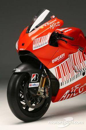 Detail of the new Ducati Desmosedici GP9