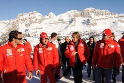 Felipe Massa, Luca Badoer, Luca Di Montezemolo et Kimi Raikkonen