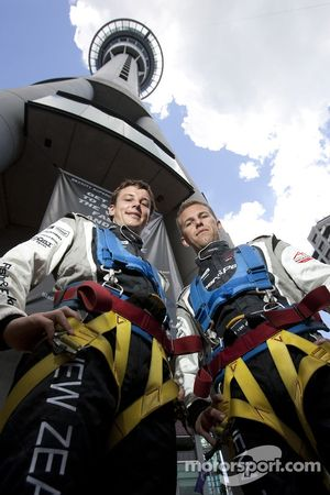 Earl Bamber and Chris van der Drift shortly after their Skyjump