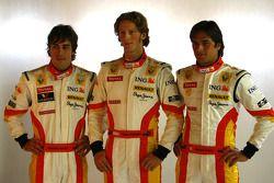 Fernando Alonso, Romain Grosjean en Nelson Piquet Jr