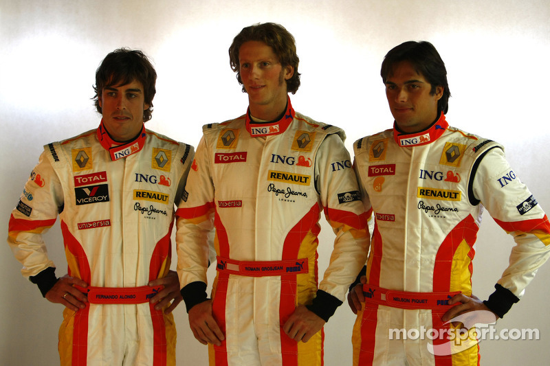 Fernando Alonso, Romain Grosjean ve Nelson A. Piquet