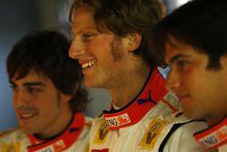Fernando Alonso, Romain Grosjean; und Nelson A. Piquet, Renault
