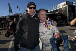 DP pole winner David Donohue celebrates with Darren Law