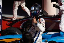 Sergio Perez celebrates winning in parc ferme