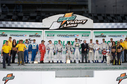 DP podium: class and overall winners David Donohue, Antonio Garcia, Darren Law and Buddy Rice, second place Juan Pablo Montoya, Scott Pruett, Memo Rojas, third place Joao Barbosa, Terry Borcheller, JC France, Hurley Haywood
