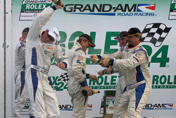 DP podium: David Donohue and JC France celebrate with champagne