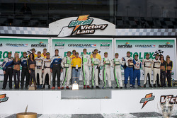GT podium: class winners Jorg Bergmeister, Andy Lally, Patrick Long, Justin Marks and RJ Valentine, second place Ted Ballou, Emmanuel Collard, Tim George Jr., Richard Lietz and Spencer Pumpelly, third place Sascha Maassen, Phillip Martien, Patrick Pilet a