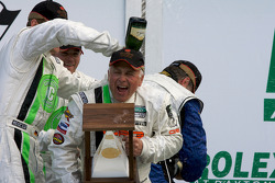 GT podium: champagne shower for RJ Valentine