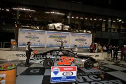 Victory lane: race winner James Buescher