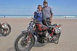 Living legends of auto racing beach parade: Maria Batsleer, 1934 Bonneville Sport Scout