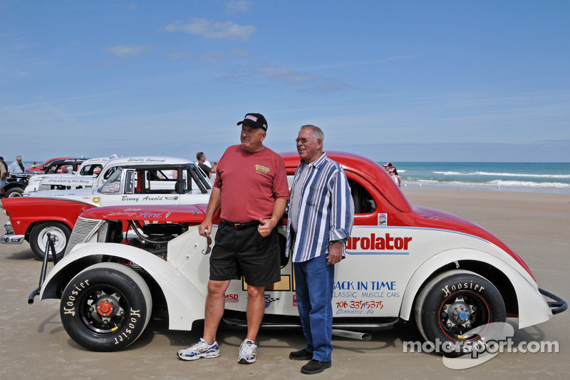 Living legends of auto racing beach parade: David Pearson and friend