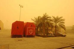 Ferrari travel equipment during a sandstorm