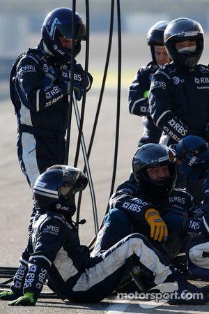 Williams F1 Team mechanics wait to practices pit stops