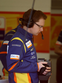 A Renault F1 Team engineers uses a thermal camera