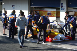 Fernando Alonso, Renault F1 Team, R29 and Nelson A. Piquet, Renault F1 Team watches on