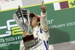 Podium: winner Sergio Perez