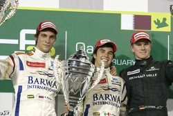 Podium: winner Sergio Perez, second place Vitaly Petrov, third place Nico Hulkenberg