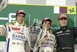 Podium: winner Sergio Perez, second place Vitaly Petrov, third place Nico Hulkenberg