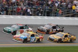 Kyle Busch, Joe Gibbs Racing Toyota, Dale Earnhardt Jr., Hendrick Motorsports Chevrolet, Matt Kenseth, Roush Fenway Racing Ford, Denny Hamlin, Joe Gibbs Racing Toyota