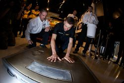Champion's breakfast: Matt Kenseth, Roush Fenway Racing Ford, has his hands imprint on the Daytona 5