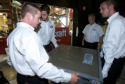 Champion's breakfast: the Daytona 500 champion cement plate for Matt Kenseth is taken away to be put on display in front of the Daytona 500 Experience building