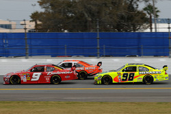 Kasey Kahne, Richard Petty Motorsports Dodge, Joey Logano, Joe Gibbs Racing Toyota, and Paul Menard, Yates Racing Ford