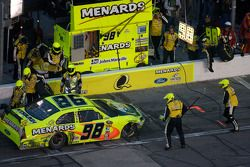 Paul Menard, Yates Racing Ford on pit road with damage