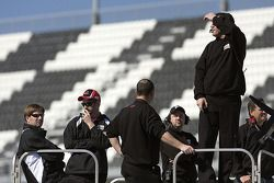 The Target Chevy crew watches Juan Pablo Montoya practices