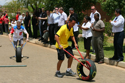 Aaron Lim, driver of A1 Team Malaysia at a Soweto School