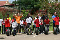 A1GP Drivers at a Soweto School