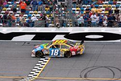Race winner Kyle Busch, Joe Gibbs Racing Toyota, celebrates