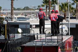 The Office Depot Crew watch their car practice
