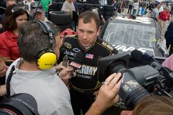 Ryan Newman, Stewart-Haas Racing Chevrolet, talks with the media after his crash with teammate Tony