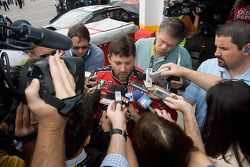 Tony Stewart, Stewart-Haas Racing Chevrolet, talk with the media after his crash with teammate Ryan
