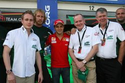 Adam Carroll, driver of A1 Team Ireland qith Felipe Massa, Mark Gallagher and John Hynes, Seat Holders of A1 Team Ireland
