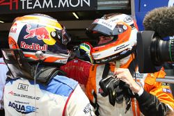 Race winner Jeroen Bleekemolen celebrates with Neel Jani