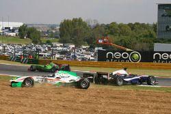 Salvador Duran, driver of A1 Team Mexico and Edoardo Piscopo, driver of A1 Team Italy crashed