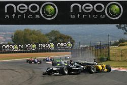 Fairuz Fauzy, driver of A1 Team Malaysia touches Earl Bamber, driver of A1 Team New Zealand
