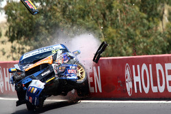 A massive crash involving the WBR Subaru Impreza WRX Sti driven by Chris Delfsma, David Wood, Gary Tierney