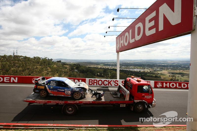 A massive crash involving the WBR Subaru Impreza WRX Sti driven by Chris Delfsma, David Wood, Gary Tierney
