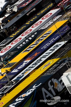 Haulers are lined up on the infield at Bristol Motor Speedway