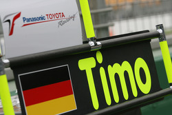 Le panneau des stands de Timo Glock (Toyota F1 Team)