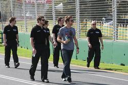 Jenson Button, Brawn GP walk the circuit