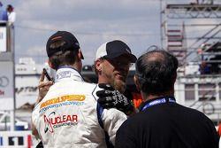 Race winner John Edwards celebrates