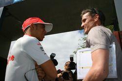 Lewis Hamilton, McLaren Mercedes and David Coulthard Red Bull Racing Advisor, BBC Television Pundit