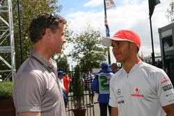 David Coulthard, consultant chez Red Bull Racing et Lewis Hamilton, McLaren Mercedes
